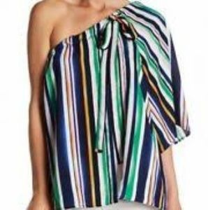 One shoulder multi color stripe blouse with tie